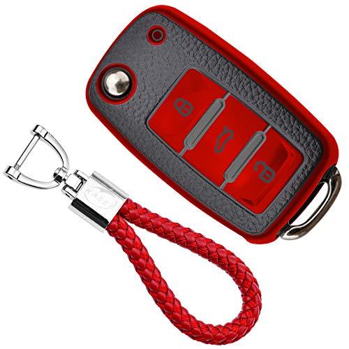KASER Funda Carcasa Llave Coche Silicona TPU Compatible para Volkswagen VW Golf Ti/guan Passat Seat Ibiza Leon Skoda Octavia Cover Llaveros Efecto Piel Protección Mando de Coche (Rojo)