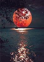 5dダイヤモンド絵画セット、赤い月、クリスタルラインストーン刺繡、家の壁の装飾ギフト-スクエアダイヤモンド_50 * 60