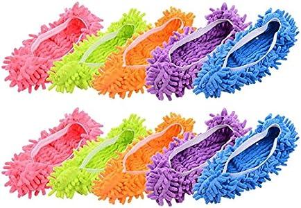 MINGZE 10 Piezas (5 Pares) Plumero Fregona Zapatillas Zapatos Cubrir, Polvo Limpiador Reutilizable Microfibra Pie Calcetines Piso Polvo Suciedad Cabello Limpiador para Casa Piso, Cuarto de baño, ofi