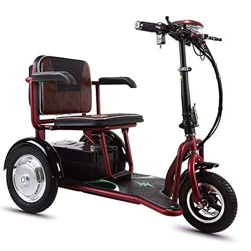 YHXJ Elektrisches Dreirad, Faltbares Roller Bequemer, Hlithium Batterie, 350 W Motor, 20 Km/H, 3-Gang-Einstellung, Geeignet Für Ältere Menschen -30km