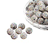 PH PandaHall About 100 Pcs 10mm Clay Pave Disco Ball Czech Crystal Rhinestone Shamballa Beads Charm Round Spacer Bead for Jewelry Making, Crystal AB