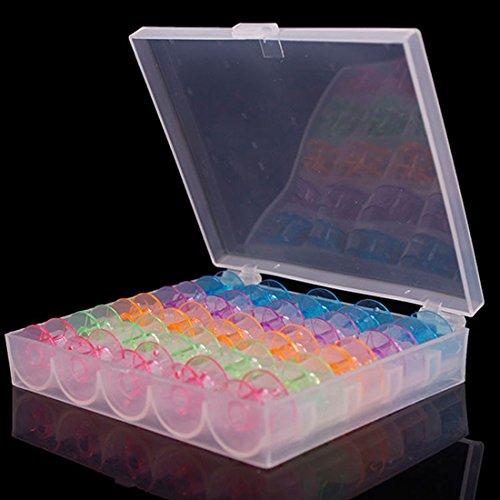 25Grids Caja de máquina de coser de plástico transparente bobinas caso con 25canillas color
