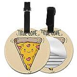 True Love Form Pizza - Juego de etiquetas para maleta de piel personalizada, accesorios de viaje, etiquetas redondas para equipaje Negro Negro 4 PCS