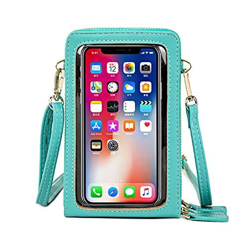 YSISLY Bolso para Teléfono Móvil con Pantalla Táctil, Bolso Multifuncional para Teléfono Cuero PU para Mujer con 3 Cremalleras, Ranuras para Tarjetas (Light Green)