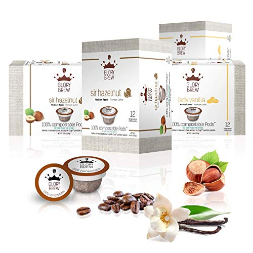 GLORYBREW - 48 Pack Hazelnut & Vanilla Flavored Keurig Coffee Pods - Medium Roast and 100% Compostable for Keurig K-Cup Brewers - Rainforest Alliance Certified   Better than Biodegradable