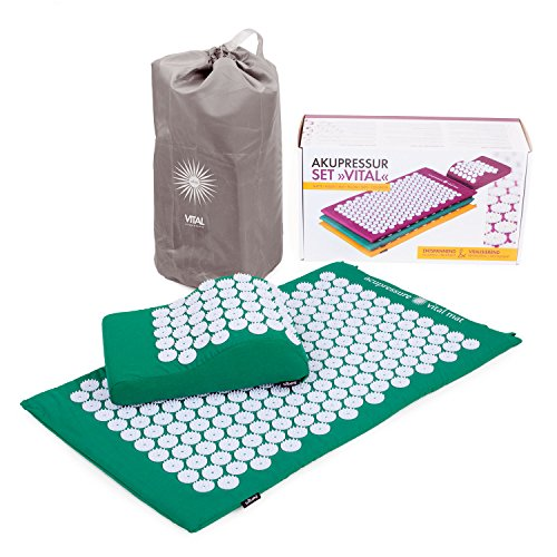 BODHI Vital Akupressur-Set 74 x 44cm Akupressur-Matte & -kissen, grün, inkl. Tasche, zur Selbstmassage, Entspannung, Förderung der Durchblutung