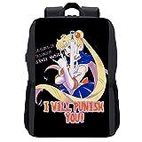 Sailor Moon in The Name of Rock Music I Will Punish You, mochila para portátil con puerto de carga USB