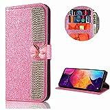 Miagon Hülle Glitzer für Samsung Galaxy Note 10 Plus,Diamant Strass Schmetterling Kette PU Leder Handyhülle Ständer Funktion Schutzhülle Brieftasche Cover,Rosa