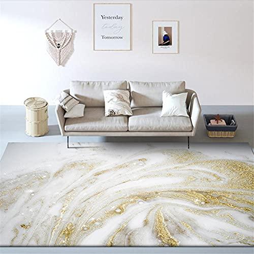Alfombras Salon Grandes, Alfombra de Pelo Corto Moderna, Resumen Dorado Blanco - para Comedor, Dormitorio, Pasillo y Habitación Juvenil 120X170CM(4ft x 5.6ft)