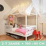 Alcube Hausbett 160x80 cm - stabiles Kinderbett mit Rausfallschutz und Lattenrost - weiß lackiertes Spielbett aus Pinienholz für Jungen und Mädchen - Geeignet für Vorhänge und Himmeldekoration