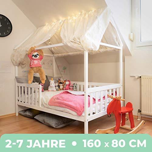 Alcube Hausbett 160x80 cm - stabiles Kinderbett mit wechselbarem Rausfallschutz und Lattenrost - weiß lackiert - aus Pinienholz für Jungen und Mädchen - Geeignet für Vorhänge und Himmeldekoration