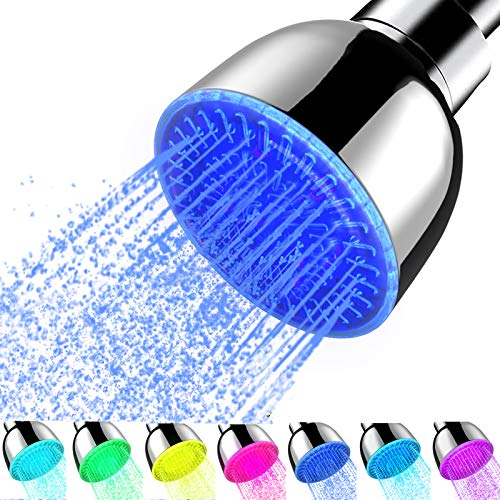 LED Shower Head Color Changing, 7 Color Flash Light Automatically Bathroom LED Rainfall Fixed Shower Head Luxury Chrome High Pressure Rain for Low Flow Showers - No Need Battery or Power