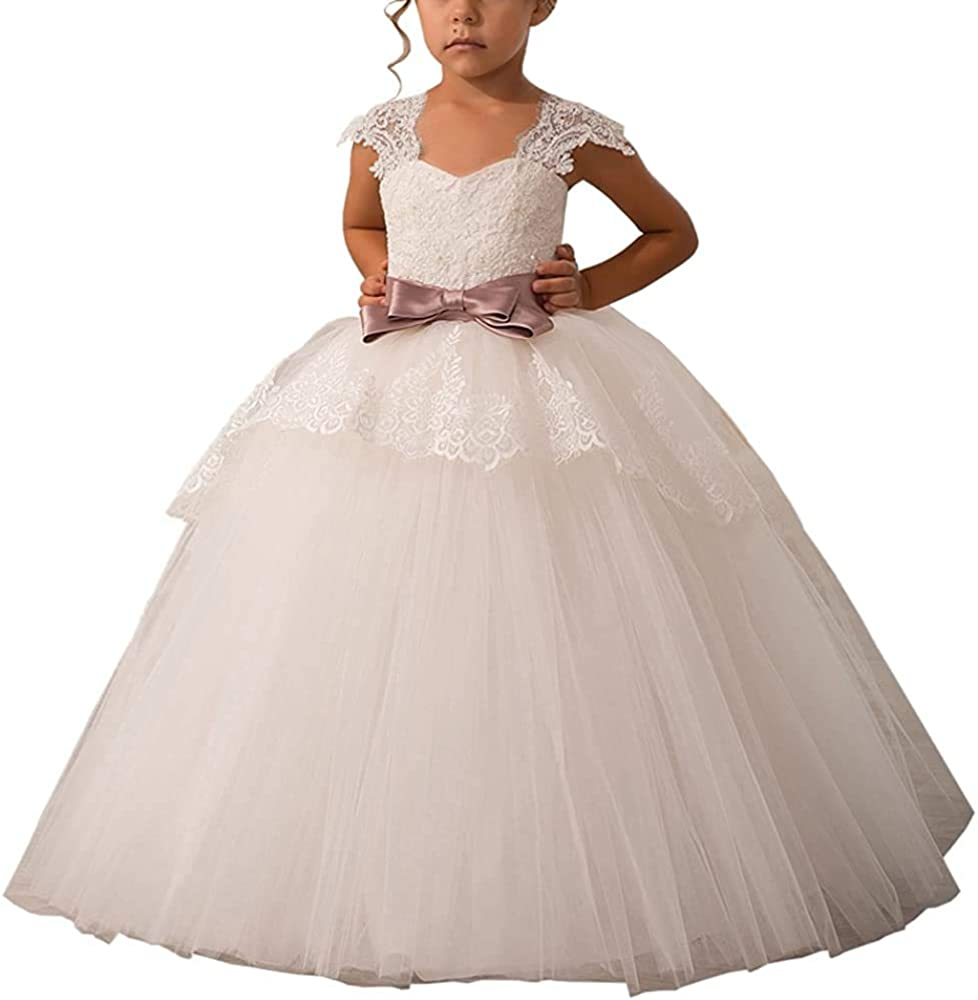 Onlylover Elegant Pageant Lace Appliques Cap Sleeves Flower Little Girl Dresses 2-12Years