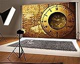 YongFoto 3x2m Vinyle Toile de Fond Horloge Vintage Style Steampunk Engrenages en Métal Brique Altérée Fond Décors Studio Photo Portrait Enfant Video Fete Mariage Photobooth Photographie Accesorios