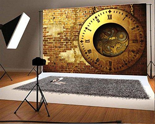 YongFoto 3x2m Vinilo Fondo de Fotografia Reloj Vintage Estilo Steampunk Metal Gears Ladrillo resistido Telón de Fondo Fiesta Niños Boby Boda Adulto Retrato Personal Estudio Fotográfico Accesorios