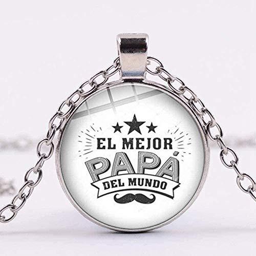 NONGYEYH co.,ltd Collar Encantador Super Papá Collar Collar de Cadena Regalo de Padre Familiar Collares y Colgantes de cúpula de Vidrio Impresos Simples para papá