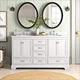 Harper 60-inch Double Bathroom Vanity (Carrara/White): Includes White Cabinet with Authentic Italian Carrara Marble Countertop and White Ceramic Sinks