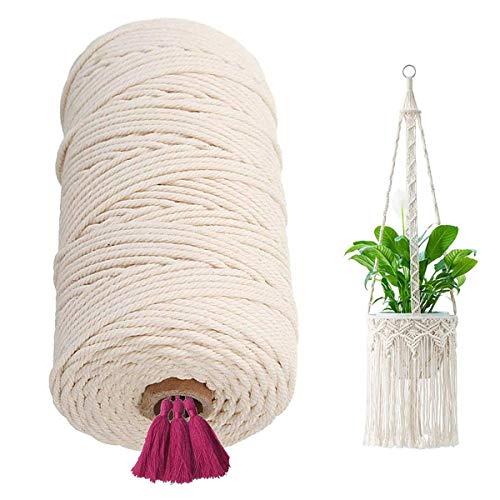 Hilo de algodón macramé, 2 mm x 250 m, cordón natural de algodón para macramé, macramé, decoración de pared, hilo para manualidades, macramé, decoración de tejer, plantas colgantes (beige)