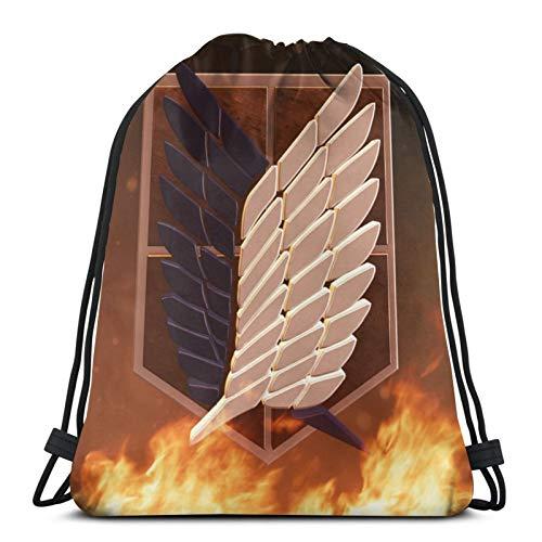 Vbanlya Attack on Titan zaino con coulisse borsa da palestra spiaggia bomboniera borse da viaggio borse da viaggio leggero e grande capacità