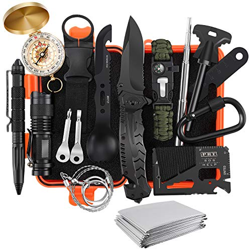 Gifts for Men Dad Husband, 17 in 1 Professional Survival Gear Tool Emergency Tactical Stocking Stuffers Equipment Supplies Kits for Hiking Camping Adventures