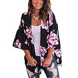 Cárdigan para Mujer Corto Cover Up para Playa Estampado Floral Estilo Bohemio Kimono Talla Grande de Mujer para Verano Vacaciones (Negro, L)
