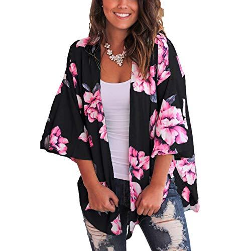 Cárdigan para Mujer Corto Cover Up para Playa Estampado Floral Estilo Bohemio Kimono Talla Grande de Mujer para Verano Vacaciones (Negro, M)