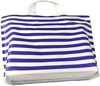 Blue/White - 50 Pieces Plastic Merchandise Shopping Bags Gift Bags Boutique Bags