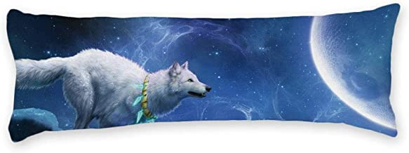 AILOVYO White Wolf to The Moon Universe Long Body Pillow Case Cover Silky Shiny Satin Body Pillow Cover Custom Material 20