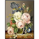 wZUN Coloridas Flores Hermosas arreglo Floral Lienzo Pintura Cartel Minimalista impresión Mural Imagen 60x90 cm Sin Marco
