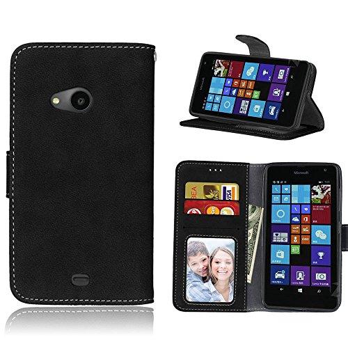 pinlu Hohe Qualität Retro Scrub PU Leder Etui Schutzhülle Für Nokia Microsoft Lumia 535 Lederhülle Flip Cover Brieftasche Mit Stand Function Innenschlitzen Design Schwarz