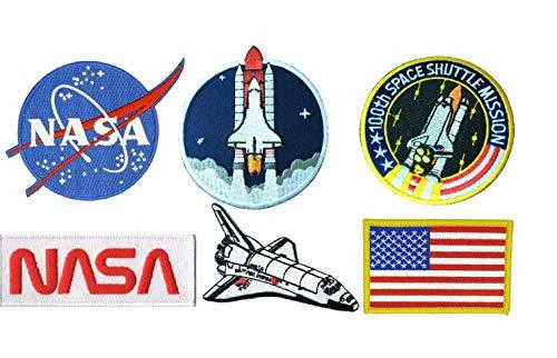 Juego de 6 parches de astronauta de la NASA bandera de Estados Unidos para...