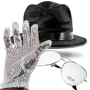 King of Pop MJ Costume with Bad LP Accessories Black Fedora Hat Silver Sequin Glove Aviator Sunglasses and Thank You Card Novelty Cosplay and Halloween Dress Up Props