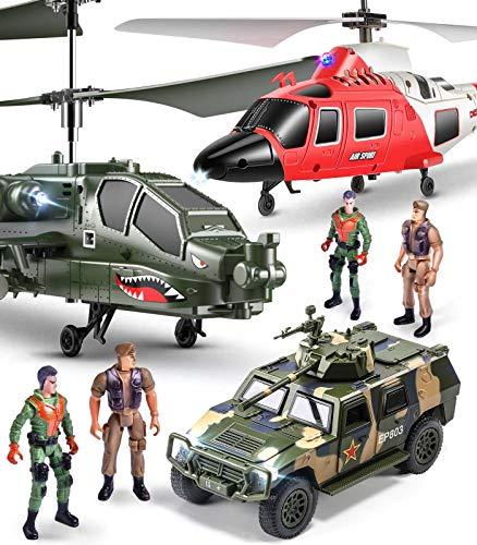 SYMA 2er Ferngesteuerter Hubschrauber Set, Helikopter ferngesteuert, S109G S111G RC Hubschrauber, 2 in 1 Set Flugzeug, Indoor Spielzeug Geschenk für Kinder Mädchen Junge