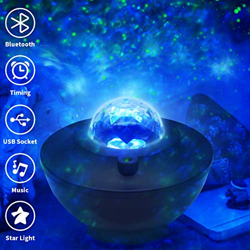 Night Light Projector Sky Laser Star Projector with LED Nebula Romantic Nebula Cloud Light with Bluetooth Music Suitable for Kids Bedroom Game Room Home Theaters Decoration Ceiling Projector