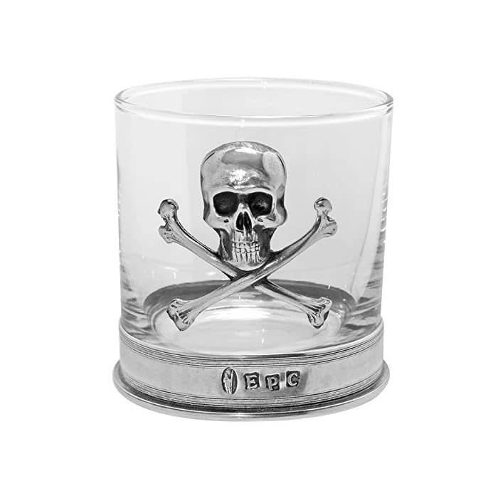 English Pewter Company 11 Ounce Old Fashioned Whisky Rum Rocks Glass With Stunning Pewter Skull And Cross Bones Tum07