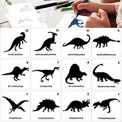 7. Konsait Reusable Plastic Kids Dinosaur Stencils (12 pack)