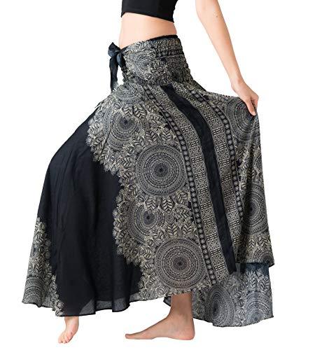 B BANGKOK PANTS Women's Boho Maxi Skirt Bohemian Print (Hippierose Black, One Size)