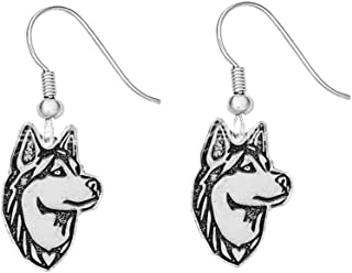 XCFS Silver Plated Black White Husky Alaska Dog Charm Animal Earring Women Girls Huskie Dangle Earrings