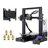 Creality Ende 3 X 3Dプリンター 印刷サイズ220x220x250mm + 強化 ガラス ベッド + 5個 3Dプリンター ノズル 0.4mm 真鍮製, 停電復帰 3D Printer DIYキット 日本語説明書 工場直販 (Ender3 X)