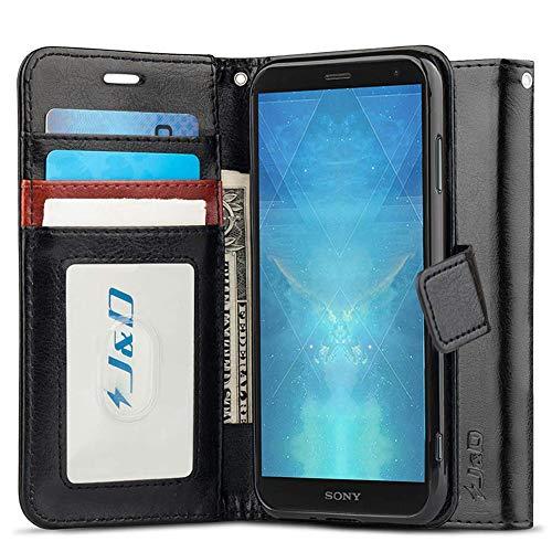 J&D Kompatibel für Xperia XZ3 Leder Hülle, [Handytasche mit Standfuß] [Slim Fit] Robust Stoßfest PU Leder Flip Handyhülle Tasche Hülle für Sony Xperia XZ3 Hülle - Schwarz
