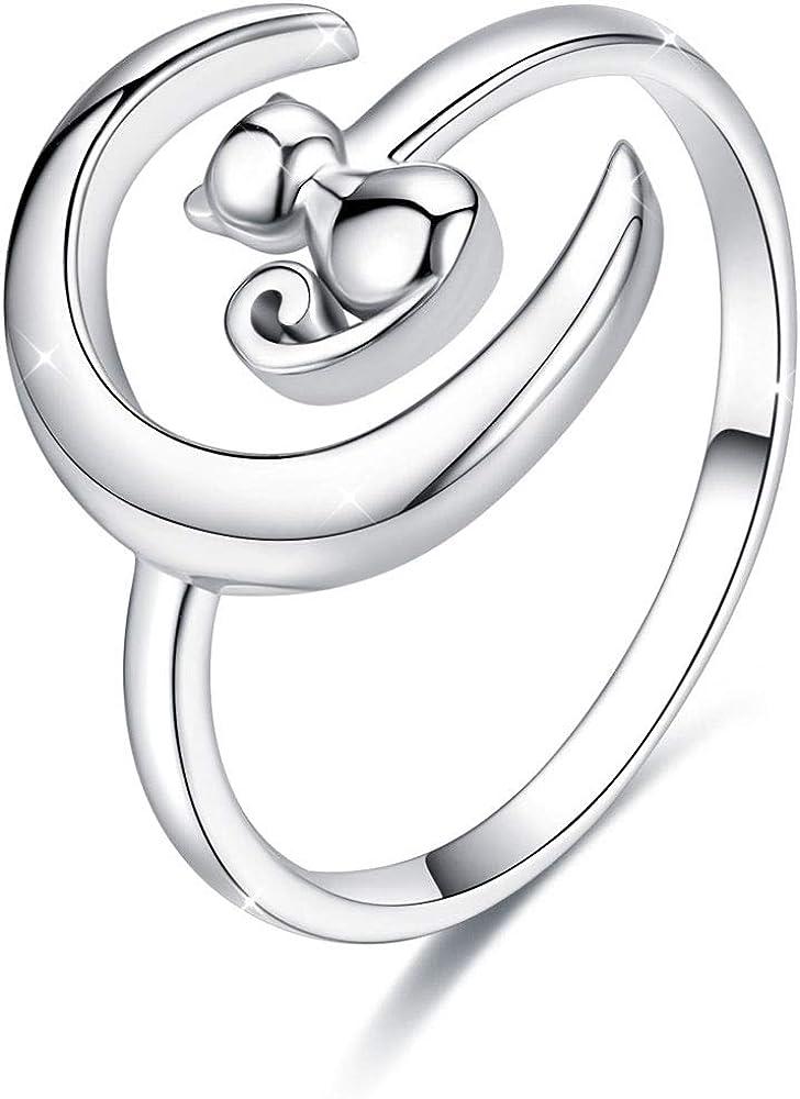 Doyis anello da donna regolabile in argento sterling 925, con luna e gatto