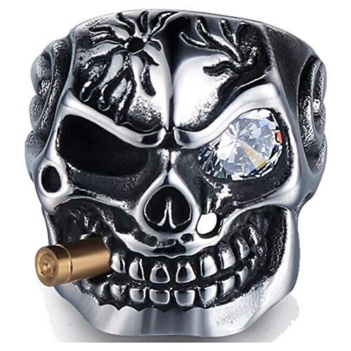 Jude Jewelers Vintage Stainless Steel Gothic Skull Smoking Bullet Biker Cocktail Party Ring (Clear Stone, 13)