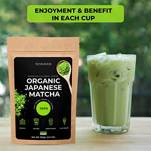 Matcha Green Tea Powder Organic Authentic Japanese Origin Premium Culinary Grade Powerful Antioxidant Energy and Healthy Metabolism First Harvest Perfect for Latte Smoothies 3.5oz