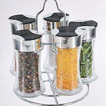 DRULINE Gewürzkarussell 5 Streuer Gewürz Kräuter Halter Glas Behälter Edelstahl Gestell S/6, 5X Salz und Pfefferstreuer, Gestell Menage-Set