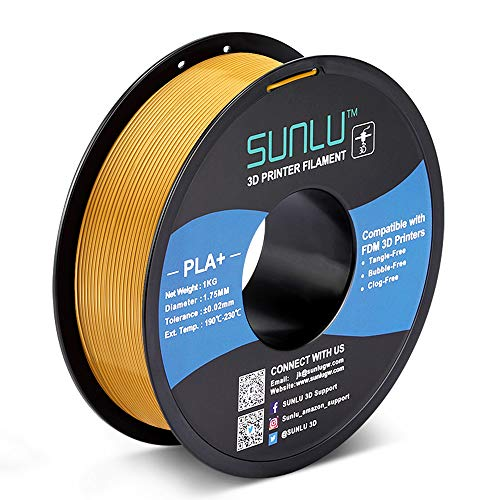 SUNLU PLA Plus 3D Filament 1.75mm for 3D Printer & 3D Pens, 1KG (2.2LBS) PLA+ Filament Tolerance Accuracy +/- 0.02 mm, Gold