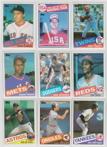 1985 Topps Baseball Complete 792 Card Set with Kirby Puckett, Roger Clemens and Mark McGwire Rookie Cards Plus Other Stars Including Ryan, Brett, Mattingly, Ripken, Gooden, Sandberg, Boggs, Henderson, Gwynn and More!