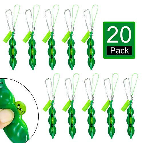 JOELELI 20 Pieces Fidget Bean Toy Funny Facial Expressions Squeeze Bean Fidget Toy Soybean Key Ring Stress Relieving Keychain for Phones Keys Backpack Gift Toy, Green
