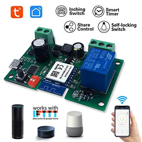 EACHEN 1 Kanal WiFi Wireless Smart Switch Relay Modul für Smart Home Fernbedienung DC 5 V/12 V, für Zugangskontrolle, Einschalten von PC, Garagentor, Arbeit mit TUYA/Smart Life App
