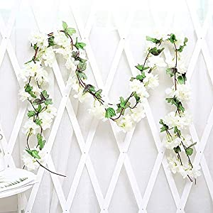 Artificial and Dried Flower 7ft Artificial Cherry Blossoms Flowers Rattan String Vines Hanging Party Silk Flower Garland Wedding Party Home Decor 17 Heads – ( Color: Lka14 White )