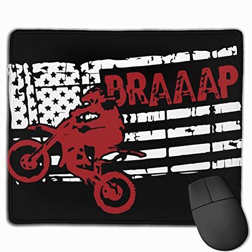 Mouse Mat,Braaap Motocross Dirt Bike Mauspad Mit Amerikanischer Flagge, Personalisiertes Rutschfestes Mauspad Für Die Dekoration Von Büro-Pcs,25X30CM